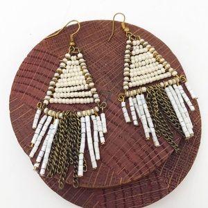 Boho White & Gold Earrings